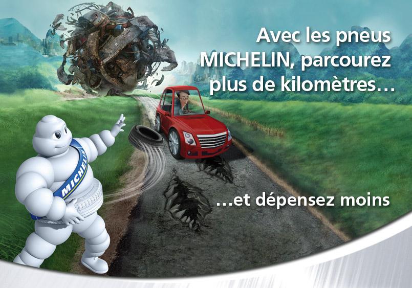 Avec les pneus Michelin, parcourez plus de kilomètre et dépensez moins.