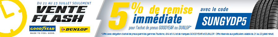 VENTE FLASH GOODYEAR et DUNLOP